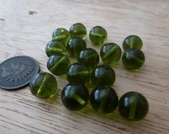 24 Vintage 9mm Olive Green Glass Beads C37