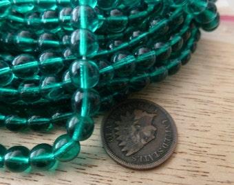 24 Vintage 6mm Round Greenish Teal Blue Glass Beads C37