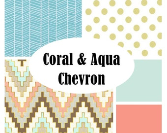 Custom Crib Bedding-3 piece-CORAL and AQUA Chevron