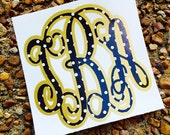 Double Layered Monogrammed Polka Dot Sticker/Vinyl Decals, Layered Monogrammed Polka Dot Personalized Initials