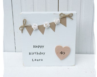 Rustic Personalised Wooden Happy Birthday Gift with Bunting