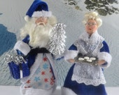 Blue Christmas Santa and Mrs. Clause Doll Miniatures by Uneek Doll Designs