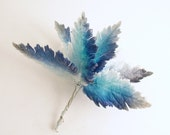 Vintage Blue Velvet Leaf Picks Corsage Stems Ombre Bouquet Millinery