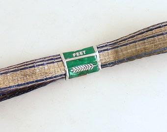Vintage Metallic Ribbon Gold Blue Antique Trim Rare