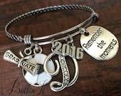 SENIOR 2017, volleyball gift, soccer gift, Senior night, GRADUATE, cheer, dance, softball, Silver bangle, charm bracelet, Class of 2017