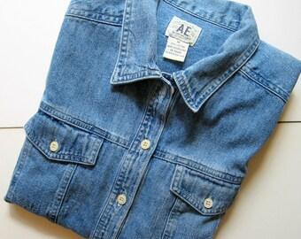 Vintage Denim Shirt, American Eagle, AE, Fitted Shirt, 100% Cotton