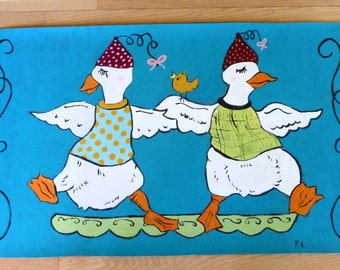 floorcloth painted rug animals geese dancing teal white green floor mat art humor kids floor mat kitchen mat