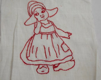 DUTCH GIRL Stitchery Vintage Redwork EMBROIDERY Square Quilt Pillow Frame 1950s Needlework