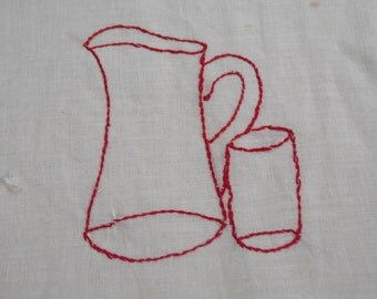 Vintage Redwork EMBROIDERY Square Quilt Pillow Frame 1950s Needlework Stitchery Glass Pitcher Simple Country Design