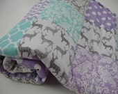 Meadow Deer Gray Mixed Geometrics Lavender Aqua Minky Comforter Blanket You Choose Size and Minky Color MADE TO ORDER