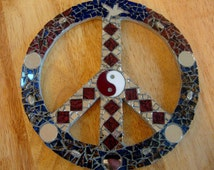 Mosaic Peace Sign With Yin Yang Mirrors and Van Gogh Stained Glass