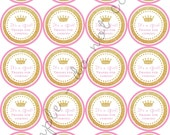 """INSTANT DOWNLOAD / Gold Glitter Crown Baby Shower 2"""" printable Party / Cupcake Topper / Stickers / Thank You Tag"""