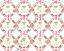 """INSTANT DOWNLOAD / Gold Glitter Pink Chevron Minnie Mouse Inspired TOODLES 2"""" printable Party / Cupcake Topper / Stickers / Thank You Tag"""