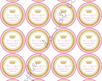 "INSTANT DOWNLOAD / Gold Glitter Crown Baby Shower 2"" printable Party / Cupcake Topper / Stickers / Thank You Tag"