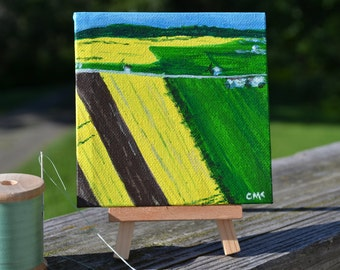 "Canola Fields Of Maine Miniature Painting 4"" x 4"" Canvas Oil Painting, Canola Field Painting"