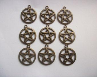 6 Large Pentagram Antiqued Bronze Tone Pendants