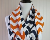 Denver Broncos Scarf - Chicago Bears Scarf - Houston Astros Scarf - Detroit Tigers Scarf - Orange Navy Chevron Scarf - Team Scarf