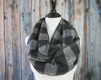 Black & Gray Buffalo Plaid Scarf - Buffalo Plaid Scarf - Buffalo Check Scarf - Flannel Scarf - Black Gray Scarf - Winter Scarf