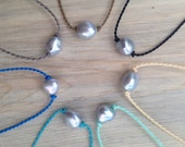 grey pearl polynesian roping anklet / waterproof / surf / island life / beach love / minimalist beauty / tula blue
