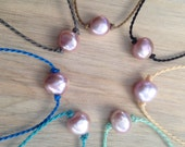 mauve pearl anklet / island style / polynesian roping / beach jewelry / waterproof / minimalist beauty