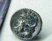 antique buttons, glass buttons, silver buttons, head button, knight head, mythology button