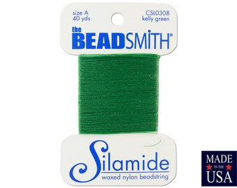 Kelly Green Silamide Waxed Nylon Beadstring Size A (40 Yards) CSL0308