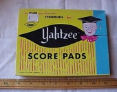 VINTAGE Box of YAHTZEE Score Pads~~The Box is Dated 1956~~3 Pads and A Few Extra Sheets~~Each Sheet is Dated 1956~Great for Altered Art-Etc