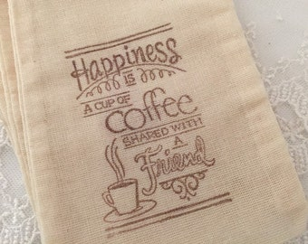 Coffee Favor Bags Muslin Bags Wedding Bridal Shower 4x6 OR 5x7