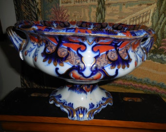 Gorgeous Imari Type Pedestal Porcelain Bowl By Widdin REDUCED