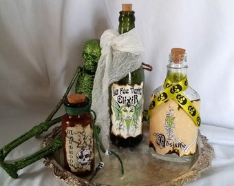 ABSINTHE the green fairy deadly drink potion WORMWOOD poison vintage bottles