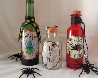 SPIDER Venom BEETLE Juice and Jar of FLIES potion poison 3 bottles halloween