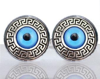 Round Glass Tile Cuff Links - Grecian Evil Eye CIR155