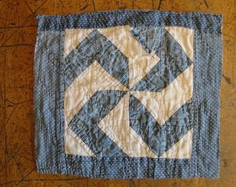 Vintage Blue Calico Pin Wheel Quilt Square | Old Calico Quilt Square | Blue Calico Cutter Quilt Piece