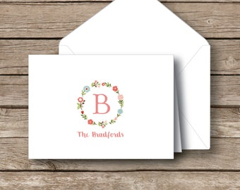 Monogrammed stationery,  Folded monogrammed note cards, floral wreath cards, notecards with envelopes, set of 12