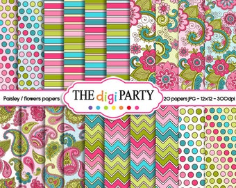 Paisley digital paper pack pattern scrapbook background floral pink green turquoise flower paper