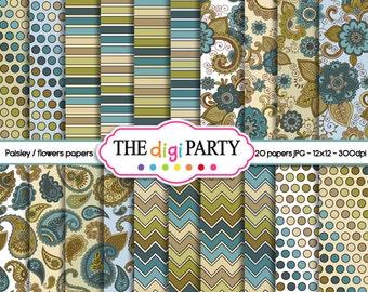Paisley digital paper pack pattern scrapbook background floral teal olive tan flower paper instant download commercial use