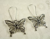 RESERVED for Lily Butterfly Kidney Wire Dangle Earrings Tibetan Silver Set No. 3