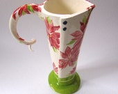 Christmas Poinsettia pottery Pitcher or Vase hand painted original ceramic whimsical Holiday Home Decor Flowers
