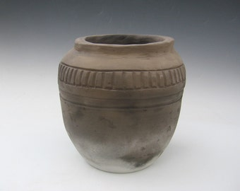 Early Period pit fired earthenware cooking pot