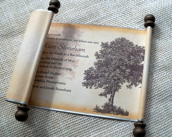 Bar Mitzvah invitation scroll with tree, vintage style scroll in silver and brown, set of 10