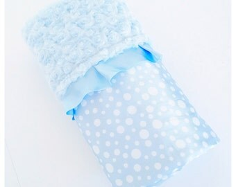 BABY BOY BLANKET / Soft minky swirls with silky dot satin / Light blue trim / Comforting fabrics to baby's touch /  Baby shower gift