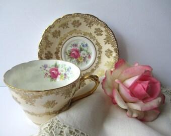 Vintage Teacup and Saucer Paragon Pink Gold English Bone China - Beautiful Gift