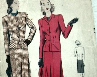 Vintage Vogue 1940s Womens Suit Pattern Swing Era Vogue 9831 Sz 20 Uncut