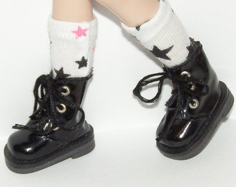 White Short Socks With Black And Pink Stars For Blythe...One Pair Per Listing...