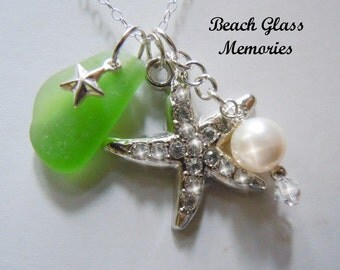 Green Sea Glass Necklace  Rhinestone Starfish Beach Glass Necklace Seaglass Pendant
