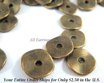 20 Antique Bronze Donut Bead Flat Wavy 10x1mm LF/CF/NF - 20 pc - M7028-AB20