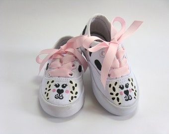 Puppy Dog Shoes, Dalmatian Sneakers With Spots, Hand Painted For Baby and Toddler