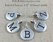 Initial Charm, Pewter Letter Charm, Personalized Initial Charm, Initial Disc