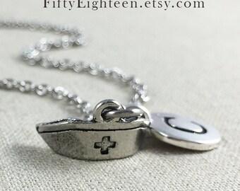 Personalized Nurse Cap Charm Necklace, Personalized Initial Jewelry, Nurse Hat Charm Necklace, Personalized Nursing Student Gift
