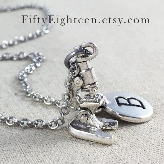 Personalized Microscope Charm Necklace, Personalized Initial Jewelry, Silver Microscope Charm Necklace, Microscope Gift, Microscope Charm